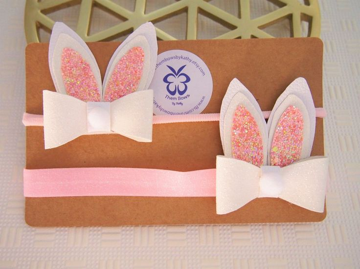Very cute Easter Bunny headband or clip - glitter fold over elastic or thin nylon or clip- baby, infants and adults - made to order or stock by ThemBowsbyKathy on Etsy