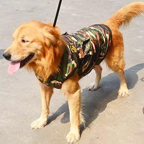 """Aus der Kategorie Shirts, Sweater & Hoodies  gibt es, zum Preis von   """"  <br />Grosse Hunde Tarnung warmer Wintermantel  <br />Hinweis: 1-2cm sich unterscheidet wegen des manuellen Maßes und verschiedenen Chargen von Produkten. Stellen Sie sicher, Sie nichts dagegen haben, bevor Sie es kaufen.  <br />Größe:  <br />S: Halsumfang: 440-460mm Länge: 470mm Büste: 620-640mm  <br />M: Halsumfang: 500-520mm Länge: 540mm Büste: 780-800mm  <br />L: Halsumfang: 560-580mm Länge: 580mm Büste: 800-820mm…"""