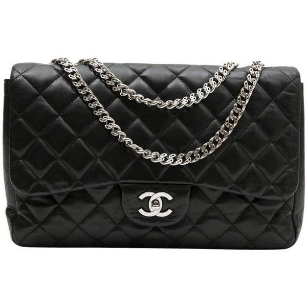 Preowned Chanel 'jumbo' Flap Bag In Black Smooth Quilted Lambskin... ($5,832) ❤ liked on Polyvore featuring bags, handbags, black, shoulder bags, cross over bag, hologram purse, flap shoulder bag, chanel purse and preowned handbags