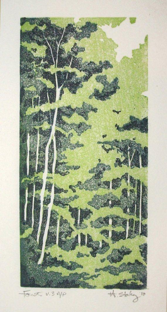 Forest V.2 Artist's Proof Original Linocut Hand Pulled Print by StarkeyArt