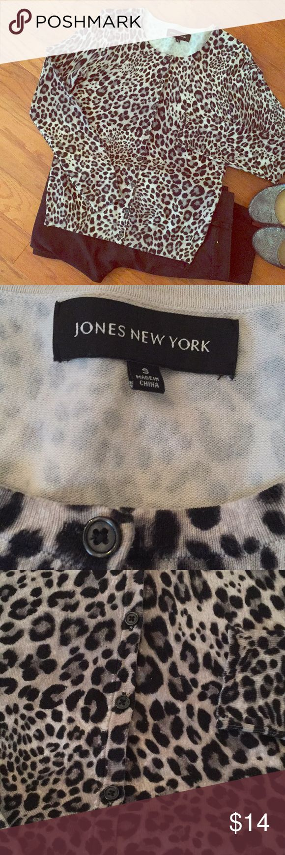 Jones New York cardigan Super cute Jones New York animal print cardigan. Dress up or dress down! Has all the buttons and in great condition. Jones New York Sweaters Cardigans