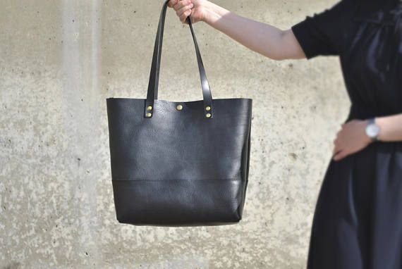 Black Leather Tote with Zipper Italian Leather Bag Leather