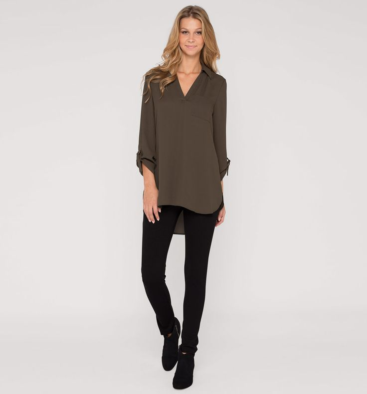 Frontimage view Blusa larga in verde oscuro