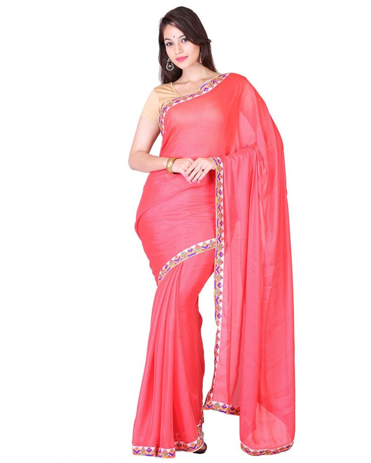 This rose pink colored silk saree matches best with white colored blouse suits for any occasion.