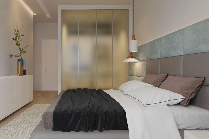 Simplistic bedroom opaque room divider white bedding black throw