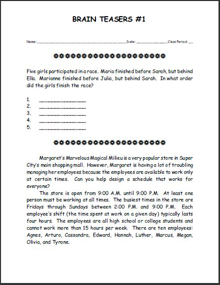 Printables Free Brain Teaser Worksheets 1000 ideas about printable brain teasers on pinterest word free puzzle 1 student handouts