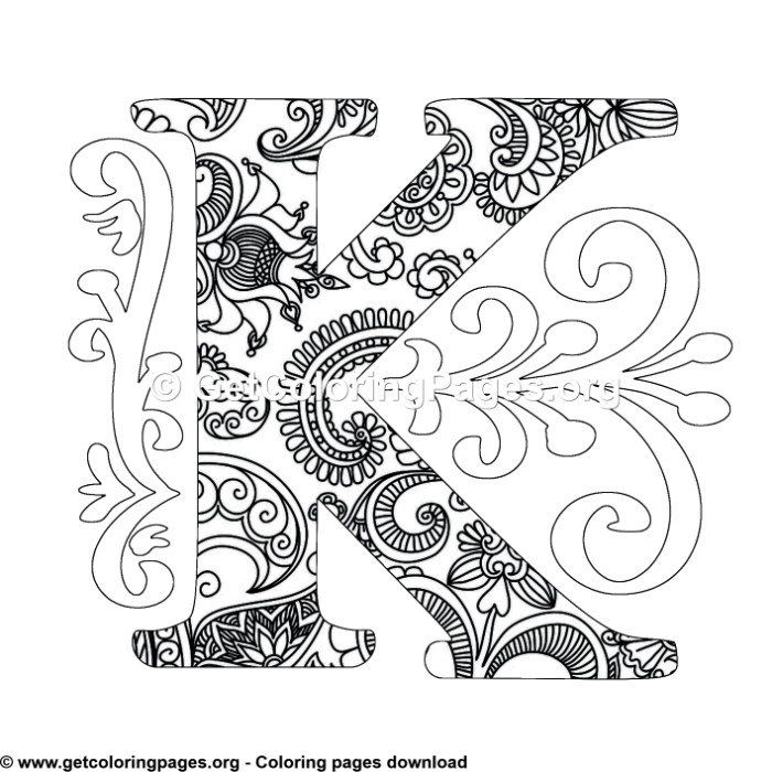 Zentangle Monogram Alphabet Letter K Coloring Sheet Mandala Coloring Pages Owl Coloring Pages Unicorn Coloring Pages