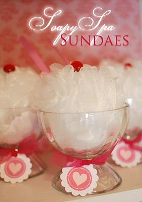 Valentine's spa Sundaes ~ bath beads, loofah, sundae dish and spoon... cute idea!