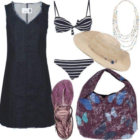 Tubino elasticizzato in jeans blu, sfilato ai bordi, bikini imbottito, fantasia a righe sempre in blu e scarpe infradito in gomma di Havaianas fantasia color malva bicolore. Borsa abbinata in tessuto tecnico con lustrini e allegre farfalle in sfumature di blu. Per gli accessori una collana in perline di vetro multicolor e l'originale cappello in paglia intrecciato a mano. Tutto è pronto per una giornata di relax al mare.