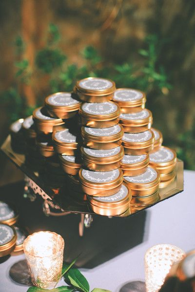 Custom wedding favors travel candles by Simply Curated