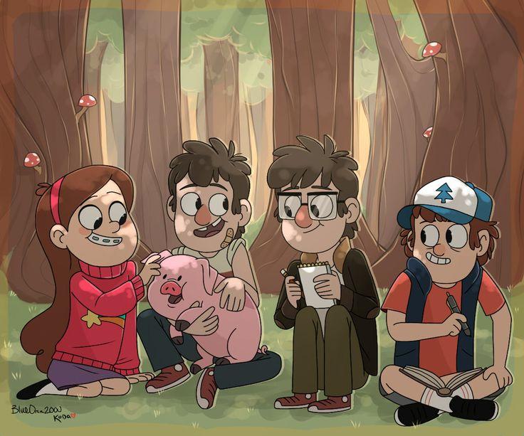 Gravity Falls,фэндомы,GF Арт,GF art,Mabel Pines,GF Персонажи,Dipper Pines,Waddles,Stanford Pines,Stanley Pines