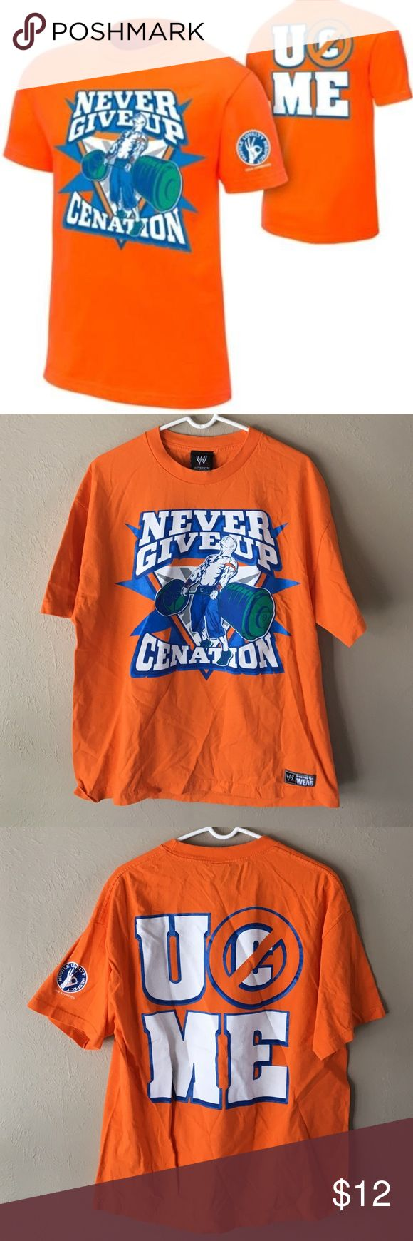 WWE John Cena orange t-shirt WWE John Cena wrestling short sleeve t-shirt. Bright orange color with graphics on both sides. Size XL. Worn once, like new. $19 retail plus $4.95 shipping online. WWE Shirts Tees - Short Sleeve