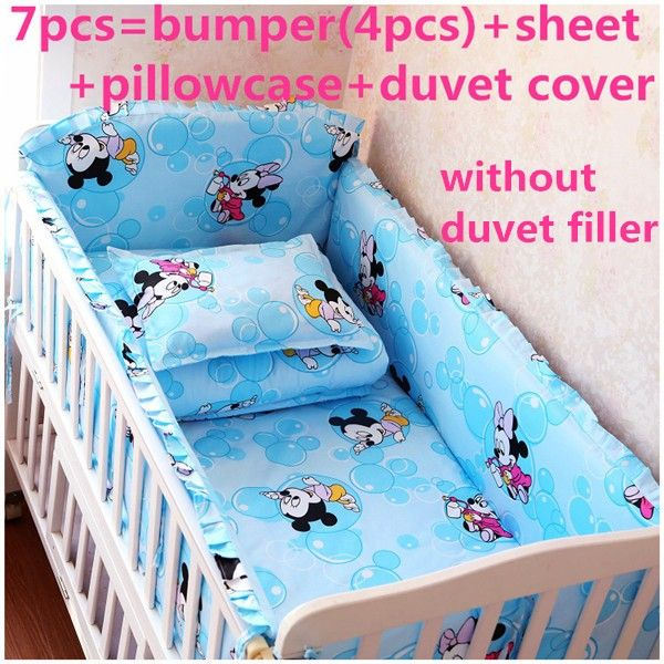 Discount! 6/7pcs Mickey Mouse baby bedding cushion bed around quilt cover pillow piece set,120*60/120*70cm
