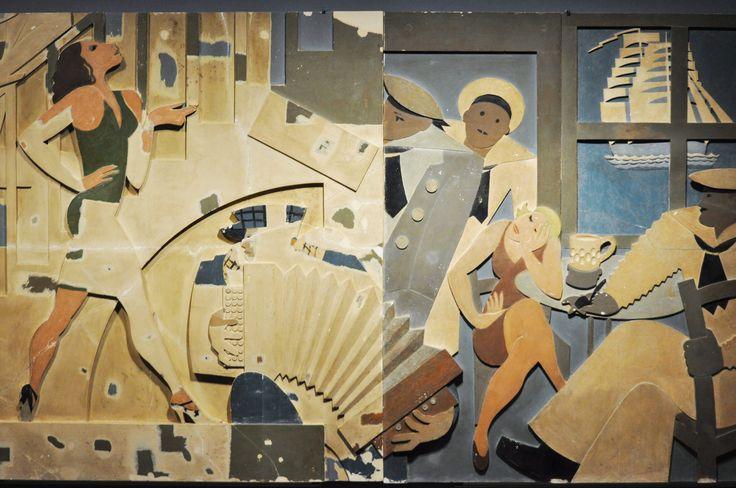 José de Almada Negreiros, conference O Desenho [Drawing], Madrid, 1927    [Bar de Marinheiros] painel para a decoração interior do Cine San Carlos, Madrid  [Sailor's Bar] panel for the interior of Cine San Carlos, Madrid, 1929