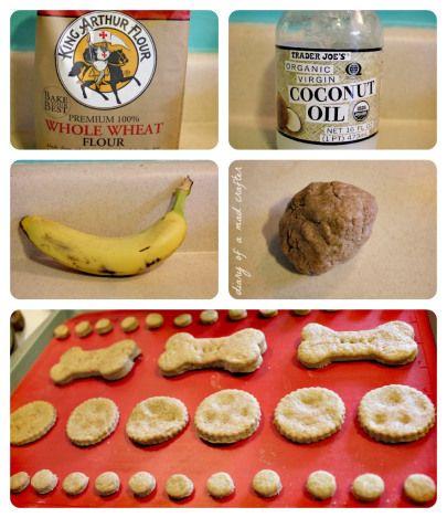 3 ingredient dog treats... Use oat flour instead of wheat for Berk