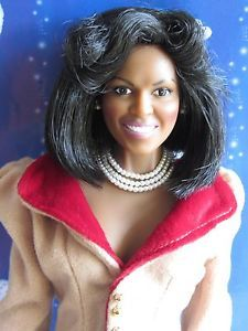 "michelle obama doll | Michelle Obama Franklin Mint Doll 16"" With Dress+Necklace+earrings ..."