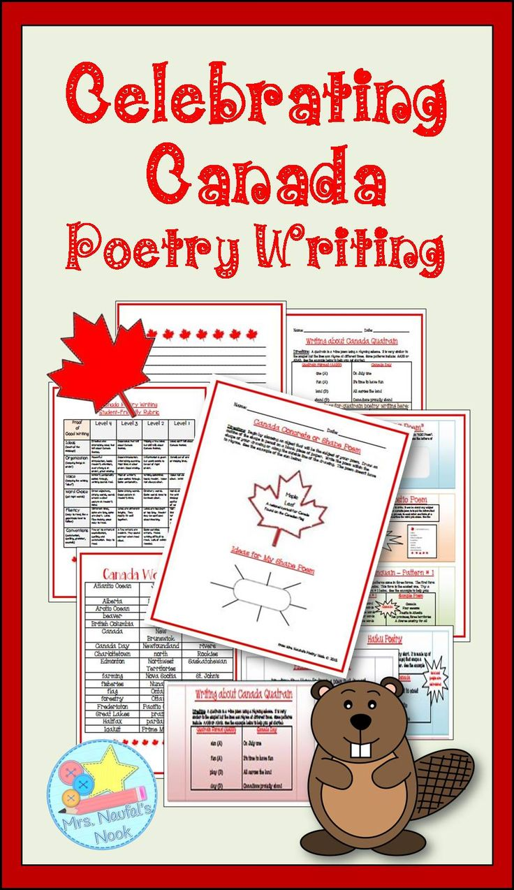 Canada writing poetry pack.  Celebrate Canada by writing about it using the following poetry forms:  ABC forms, Acrostic, Cinquain, Concrete, Couplets, Diamante, Free Verse, Haiku and Quatrain.  Includes organizers, rubric and task cards.