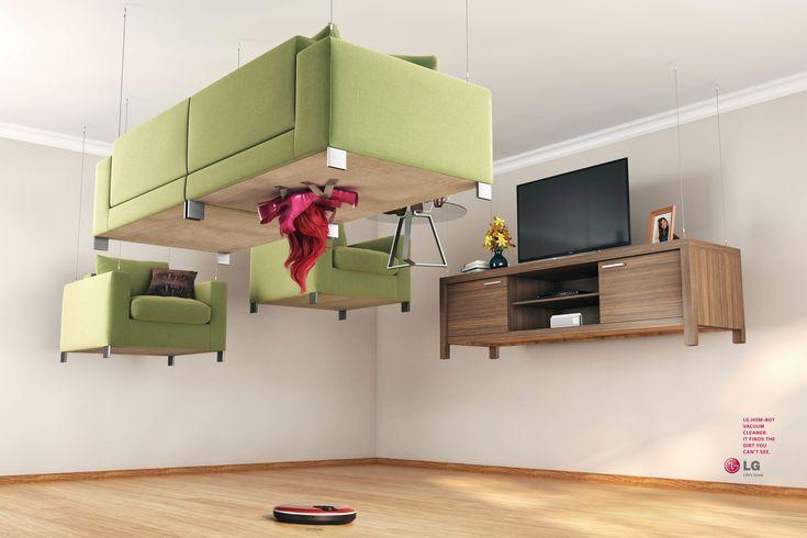 宙に浮いた家具でメッセージするロボット掃除機!? | AdGang