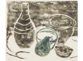 Ina Colliander: Asetelma, 1952, puupiirros, 36x44 cm, edition 2/10 - Hagelstam 5/2016