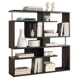 """Bring contemporary appeal to your living room or den with this eye-catching bookcase, showcasing a geometric silhouette and 5 open shelves for displaying framed photos and art books.  Product: BookcaseConstruction Material: Engineered woodColor: Dark brownDimensions: 47.25"""" H x 47.25"""" W x 11.4"""" D"""