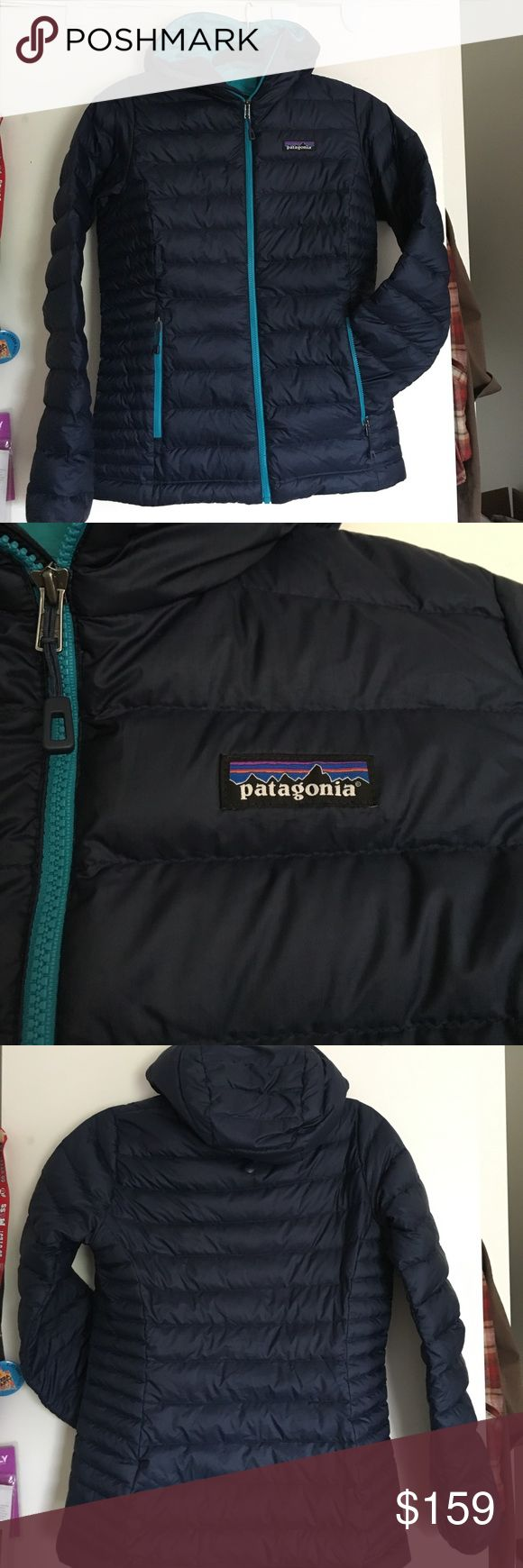 Patagonia down sweater hoody Patagonia down sweater hoody, size xs, color navy blue with howling turquoise accents and inside, from fall 2016 season, hardly used and great condition! Still has tags! Patagonia Jackets & Coats Puffers