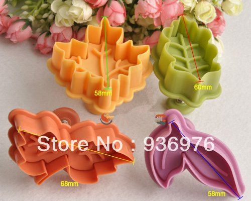 178,00 Free Shipping 4Pcs/Lot  Set of Leaf Series Plastic Cutter Fondant Cake Mold Cookie Cutting Tools-in Cake Molds from Home & Garden on Aliexpr...