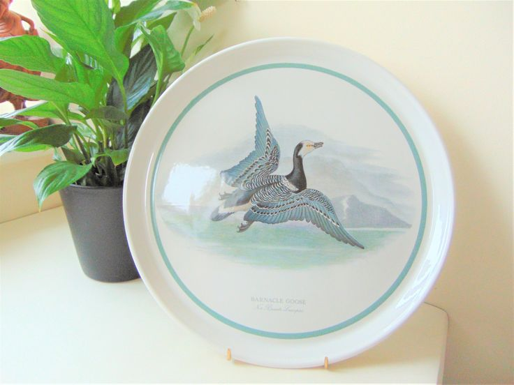 Portmeirion Pottery Barnacle Goose Serving Platter Birds Of Great Britain Twelve Inch Chop Plate Vintage Collectable Serving Tableware