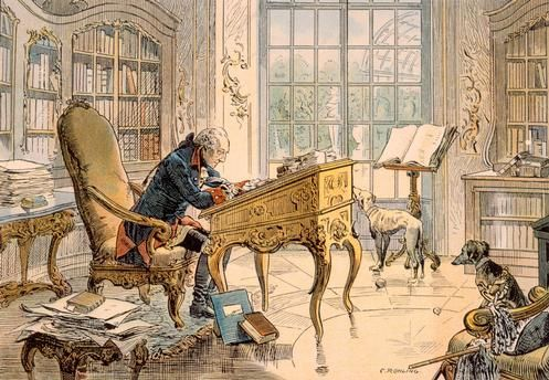 Carl von Röchling, (b,1865)- Frederick the Great in his office at Sanssouc, 1890