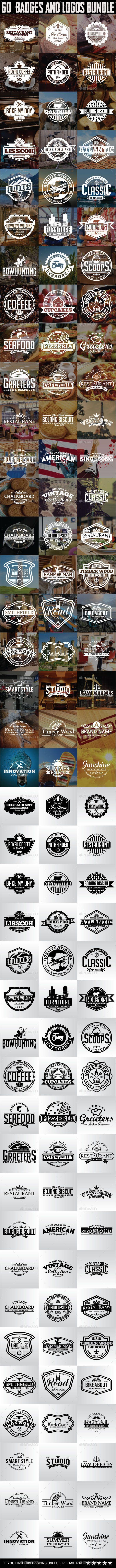 60 Badges and Logos Bundle #design Download…
