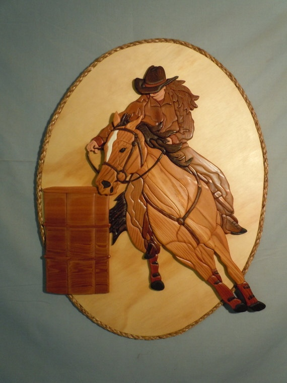 Barrel Racer Intarsia wood wall hanging A138 by Norenwood on Etsy, $328.00