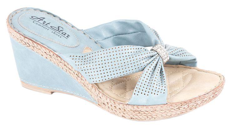 Papuci albastri cu talpa ortopedica 5009-2A. Reducere 40%.