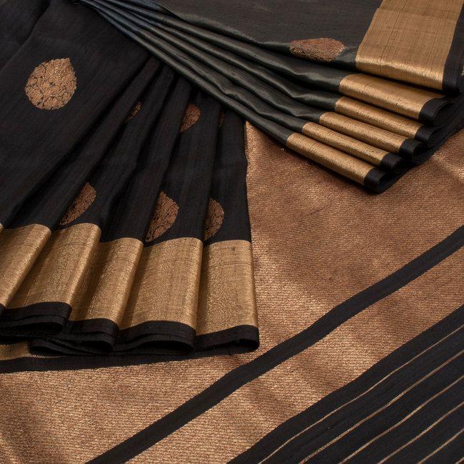 Shivangi Kasliwaal Black & Grey Handwoven Banarasi Tussar Silk Saree With Buti Motifs 10008751 - AVISHYA.COM
