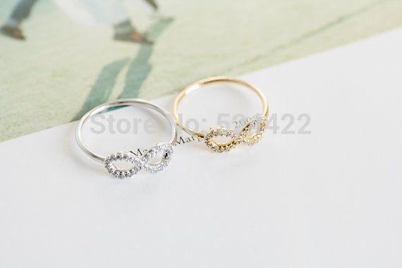 Goud Zilver Infinity Vriendschap Ring met kristal Beste Vriend Ringen