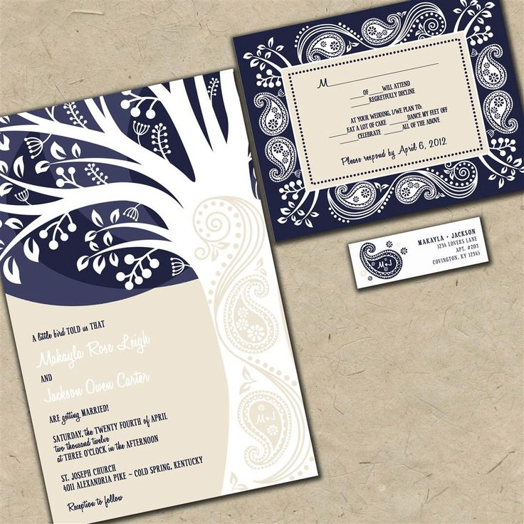 sample wedding invitation letter for uk visa%0A Custom Wedding Invitations  Paisley Tree  Navy Blue and Tan Budget  Invites  Sample Packet