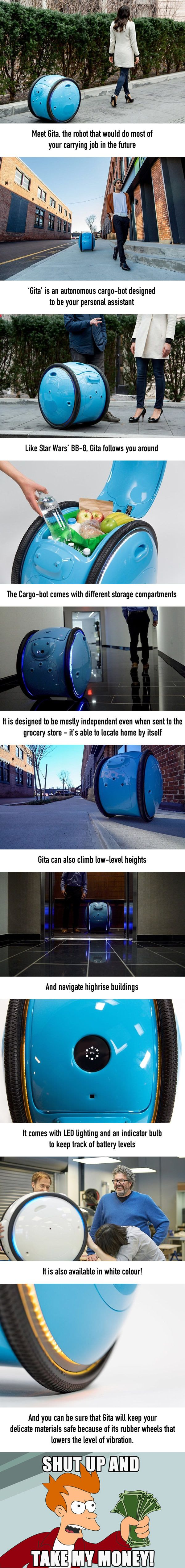 Gita Is an Autonomous Cargo Robot That Will Follow You Around - 9GAG #funnypics #funny #lol