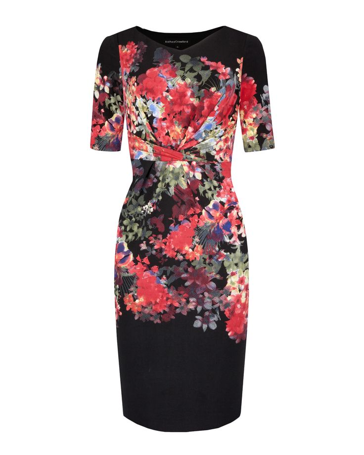 Anthea Crawford Baroque Bloom Digital Print Stretch Jersey Dress