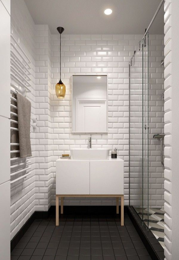 A Midcentury Inspired Apartment With Scandinavian Tendencies White Tile Bathroomswhite