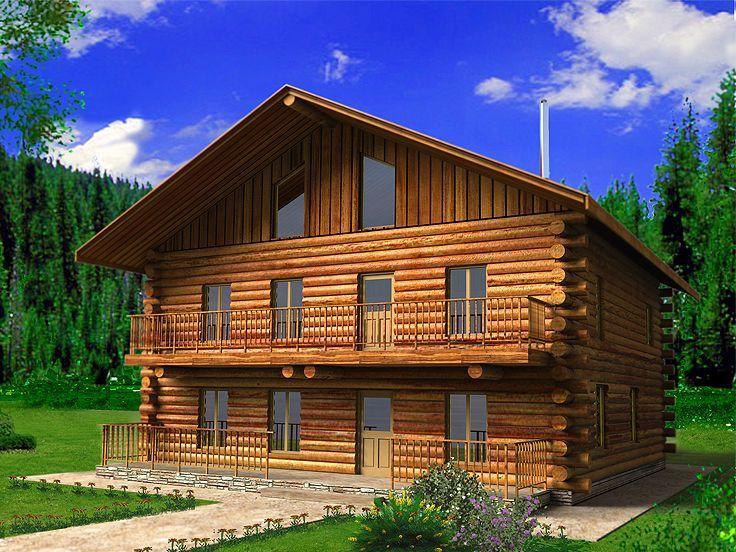 Good Three Story Log Cabin #8: 012L-0076: Three-Story Log Home Plan