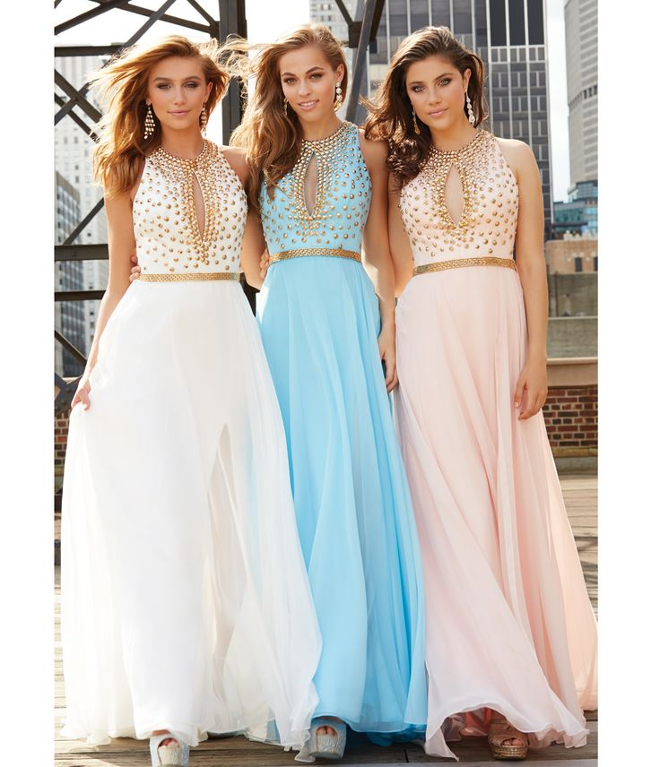 Madison James Blue Chiffon Belted #Prom Gown With Gold Studded Bodice #uniqueprom