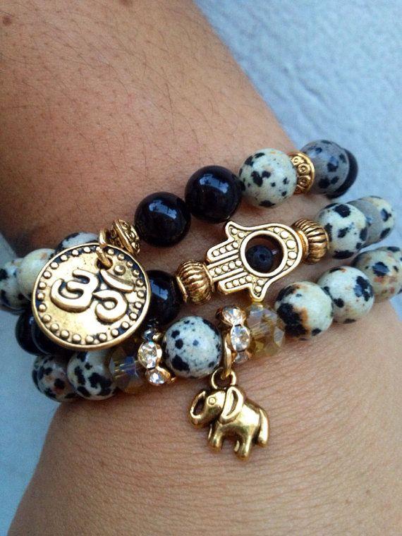 OM Elephant & HAMSA Bracelet Set by GrizzyLove on Etsy, $48.00 Seriously in love