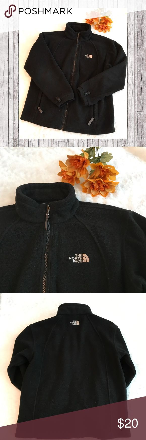 "North Face back fleece zip up jacket Great condition, all black fleece, size large, bust measures 21"" across laying flat, 17"" arm inseam, 24"" length.                                                         Shop with confidence 😘  🏆Top 10% seller 🏆Fast Shipper  🏆4.9 Rating  15% bundle discount on 2 or more items! North Face Jackets & Coats"