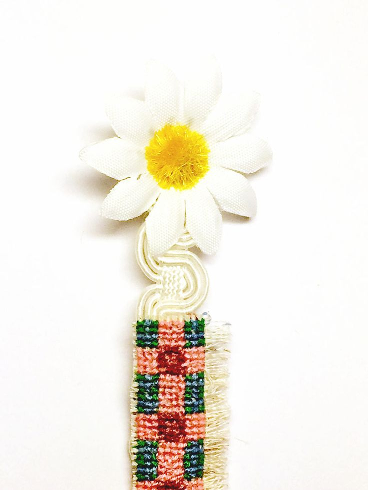 Embroidered Daisy Bookmark
