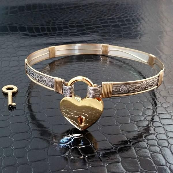 SOFT & SWEET Submissive Locking Day Collar, Sterling Silver w/ Gold Accents, Made to Order 8822