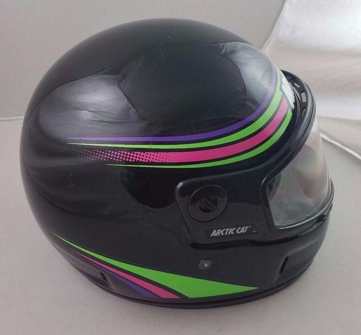 Vintage 1990s Arctic Cat Full Face Mask Snowmobile Helmet Adult L Clean Black  #KBC #Helmet