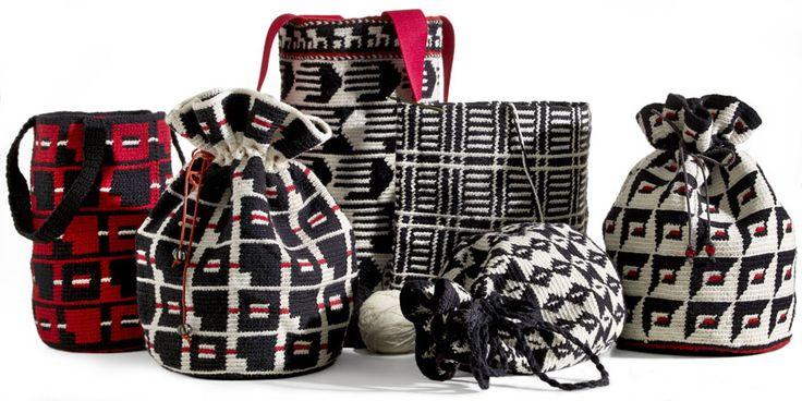 Virkade väskor! Med mönster som romb, fyrkant, rektangel och rand. Av Maria Gullberg, ur boken Virka! (Foto Thomas Harrysson)