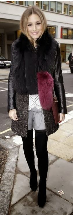 olivia palermo  Who made  Olivia Palermos gray coat, scarf, and black suede thigh high boots?