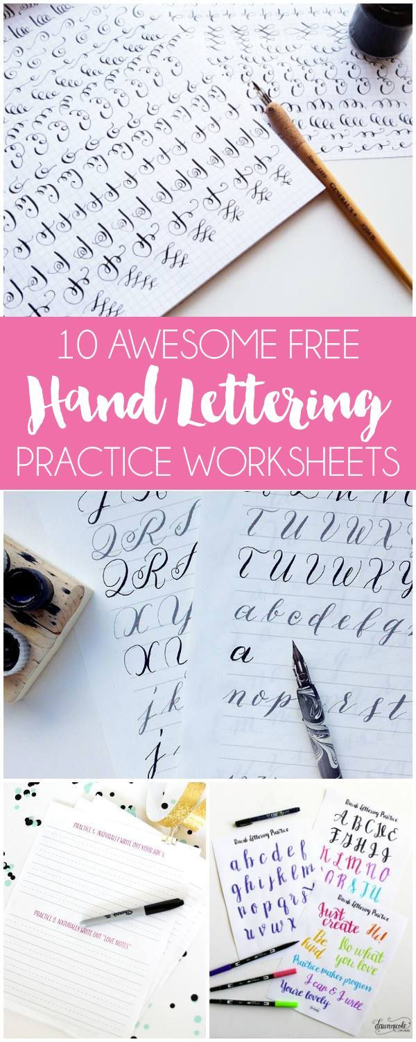 10 Awesome Free Hand Lettering Practice Worksheets for you to download and use to practise as much as possible.