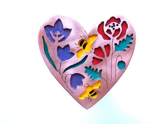 Heart Bees Brooch by OhBlackbirdsNest on Etsy