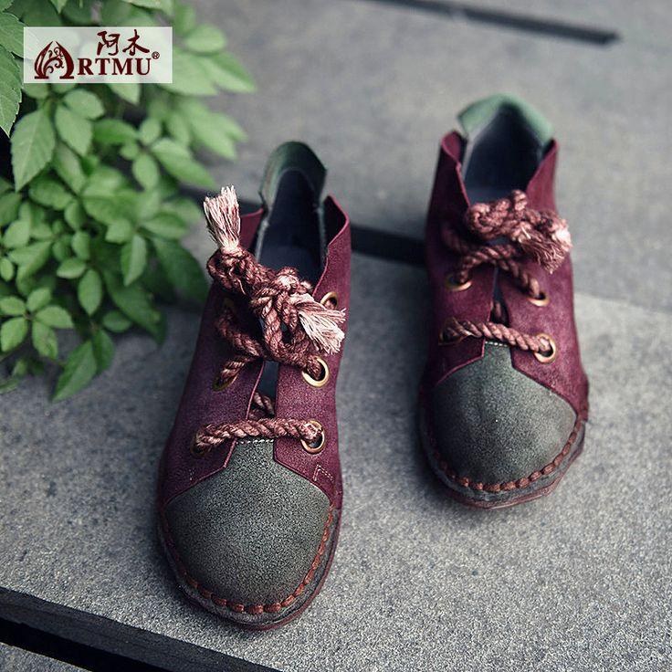 Artmu 16 старинные личность коровьей обувь одного цвета блок украшения шнуровка фальц женские купить на AliExpress