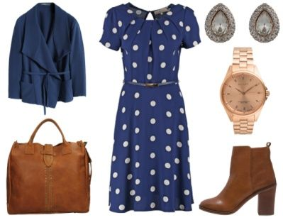 Renée -Teaching in style. Summery dresses can work for you all year round when accessorized cleverly. This pretty polka dot tea dress in classic navy looks professional when teamed up with a relaxed wrap blazer. I have toughened the look up a bit with a chunky stacked heel ankle boot in beautiful rough all-round tan leather. The roomy leather tote carries all your notes in style. Sleek watch in rose gold and teardrop studs give the outfit an unexpected glamorous aspect. www.ionimage.nl